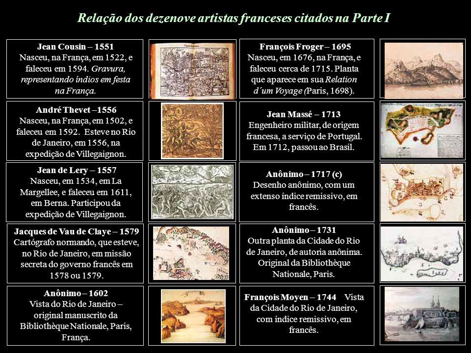 Relação dos dezenove artistas franceses citados na Parte I