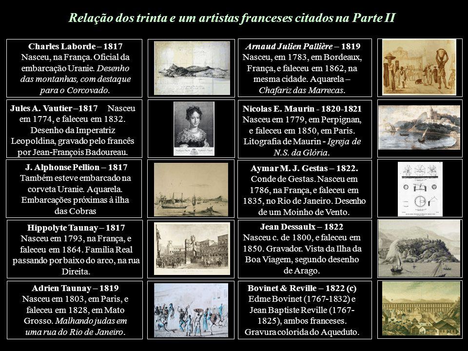 Relação dos trinta e um artistas franceses citados na Parte II