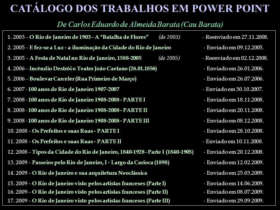 CATÁLOGO DOS TRABALHOS EM POWER POINT