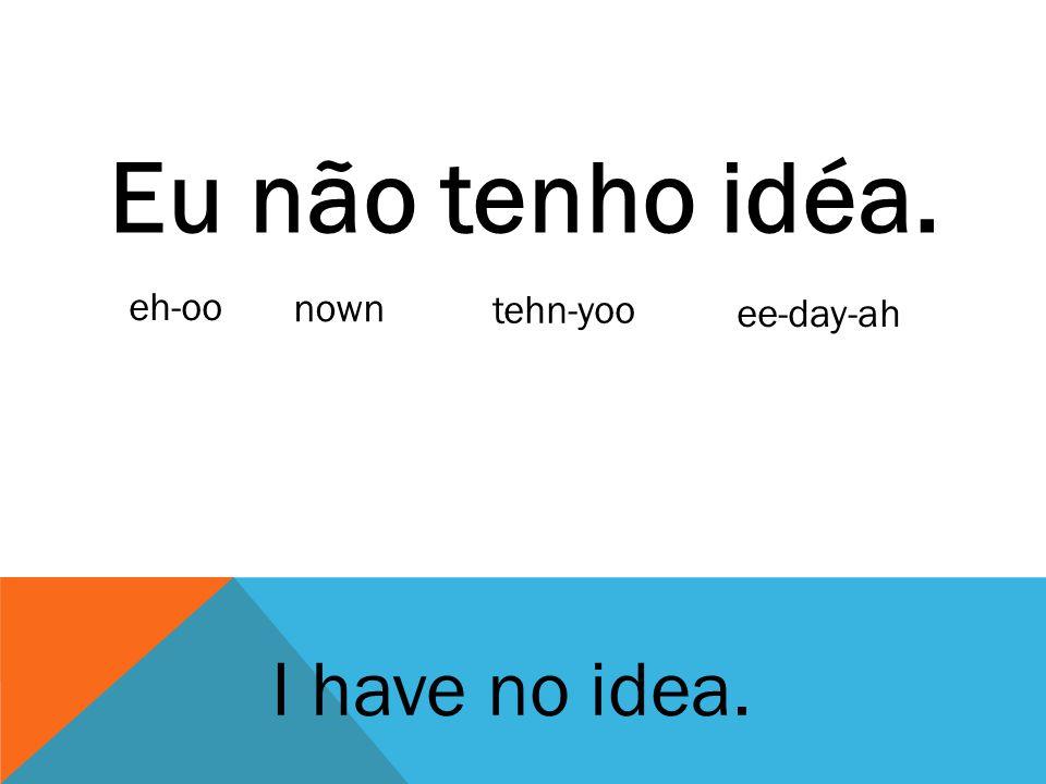 Eu não tenho idéa. eh-oo nown tehn-yoo ee-day-ah I have no idea.