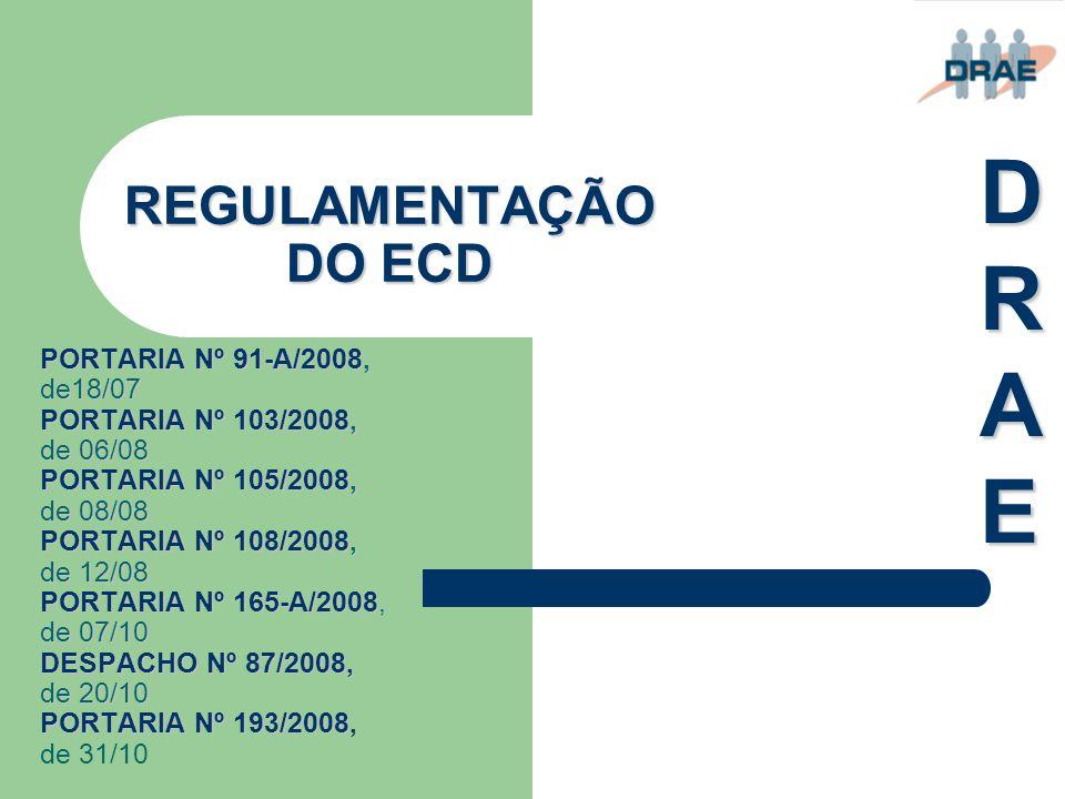 DRAE REGULAMENTAÇÃO DO ECD PORTARIA Nº 91-A/2008, de18/07