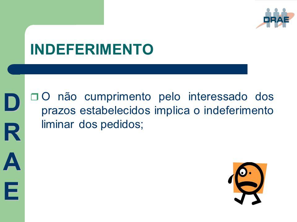 INDEFERIMENTO DRAE.