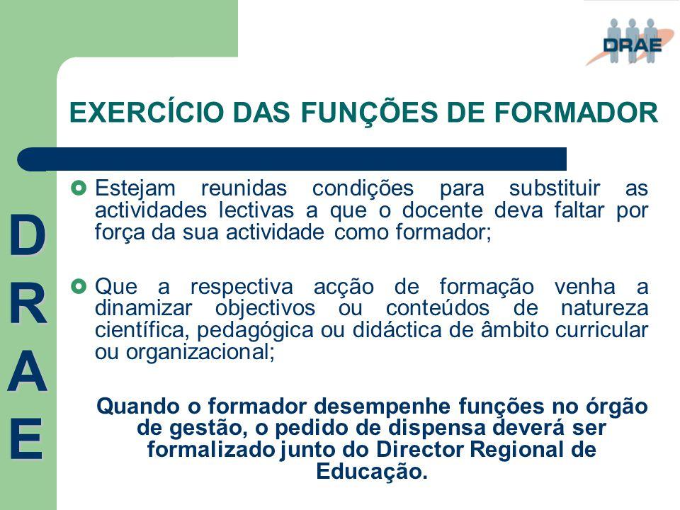 EXERCÍCIO DAS FUNÇÕES DE FORMADOR