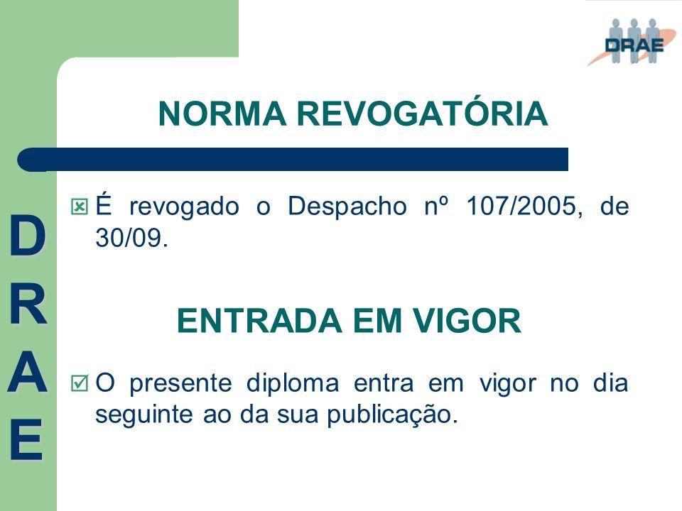 DRAE NORMA REVOGATÓRIA ENTRADA EM VIGOR