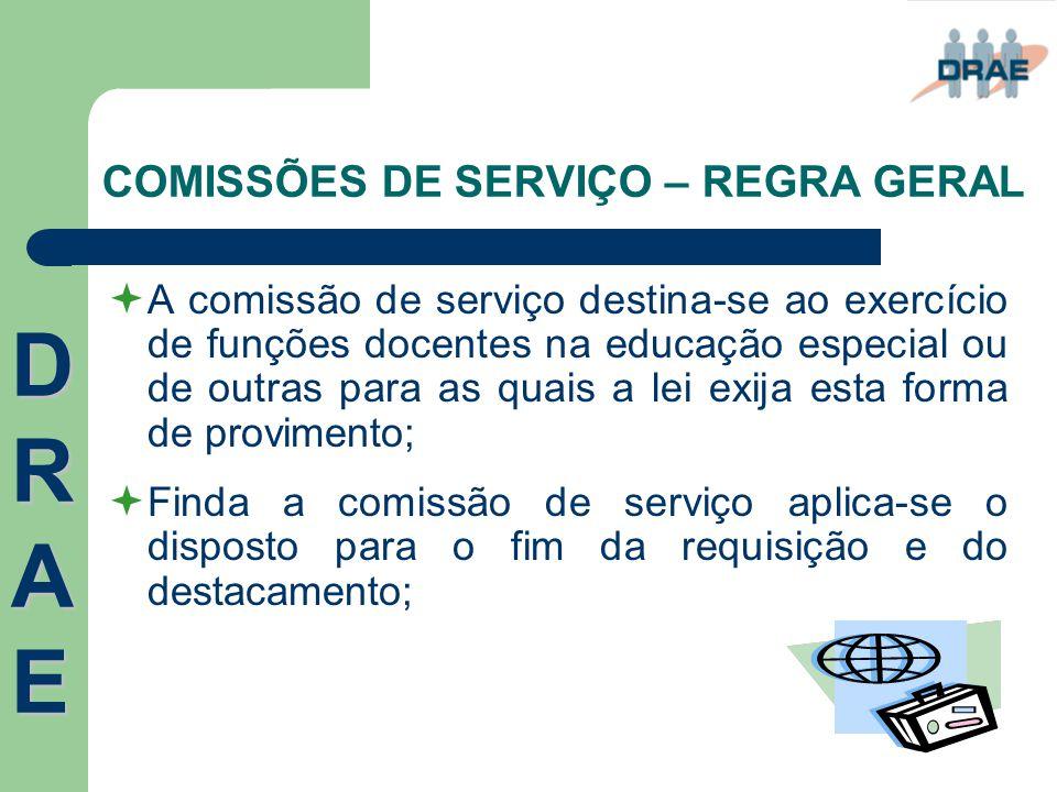 COMISSÕES DE SERVIÇO – REGRA GERAL