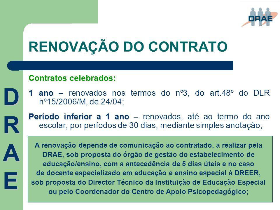DRAE RENOVAÇÃO DO CONTRATO Contratos celebrados: