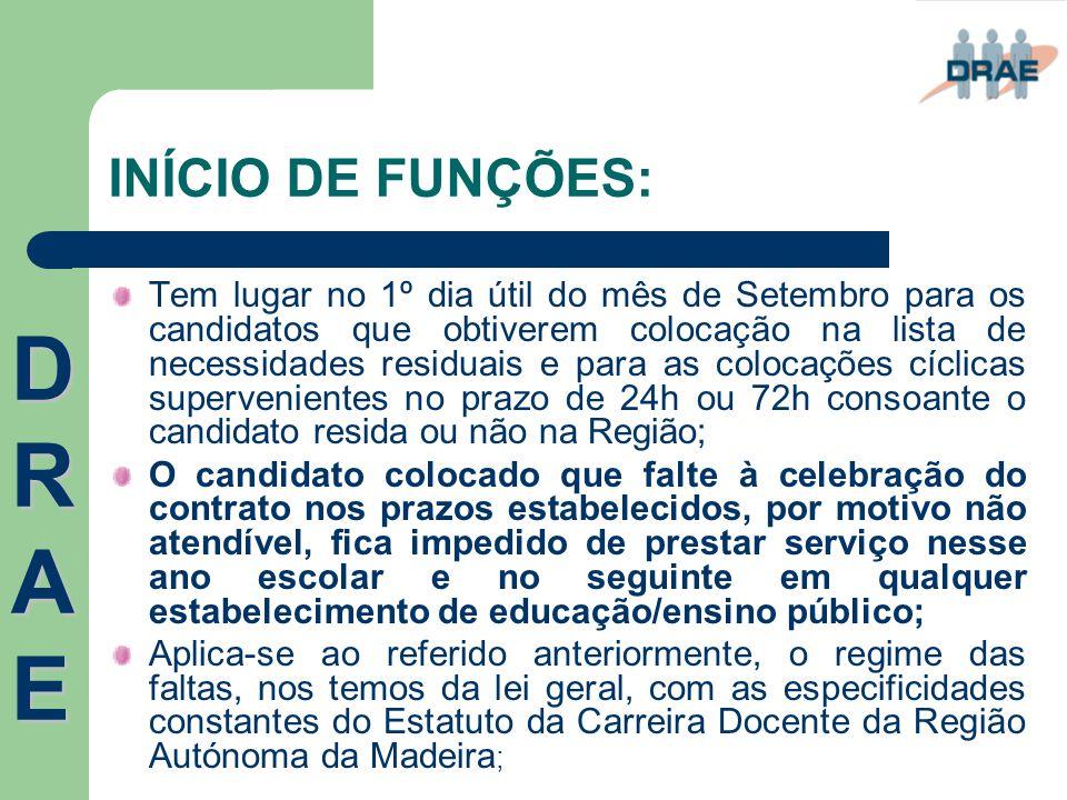 DRAE INÍCIO DE FUNÇÕES: