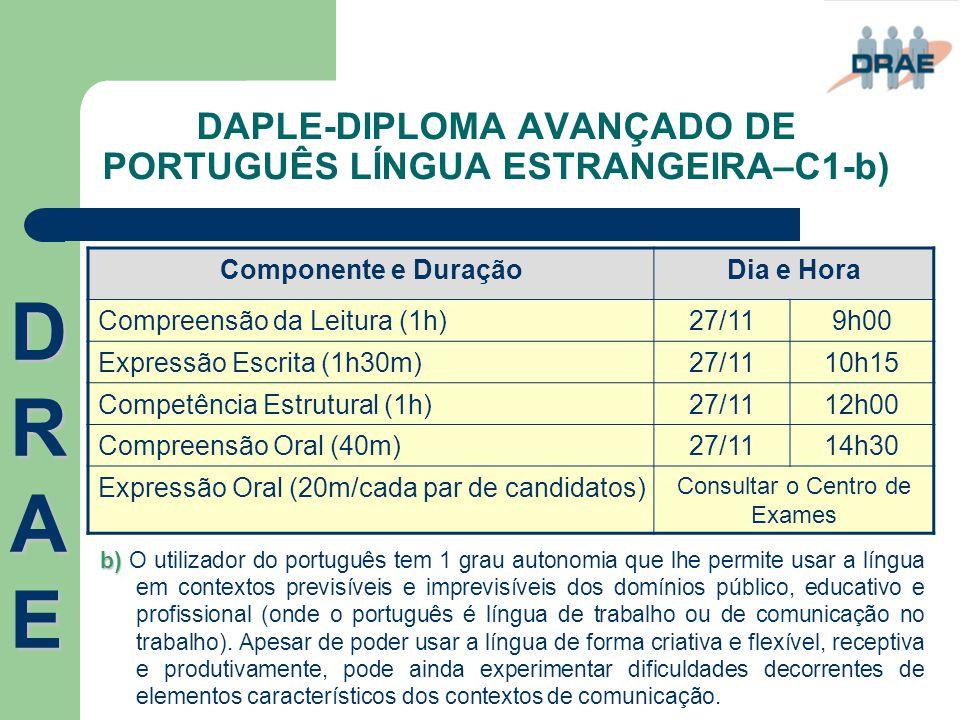 DAPLE-DIPLOMA AVANÇADO DE PORTUGUÊS LÍNGUA ESTRANGEIRA–C1-b)