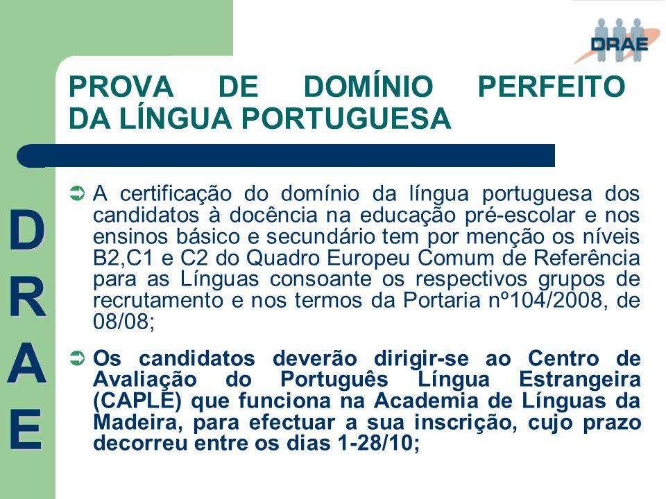 PROVA DE DOMÍNIO PERFEITO DA LÍNGUA PORTUGUESA