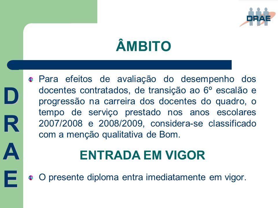DRAE ÂMBITO ENTRADA EM VIGOR