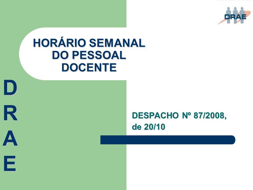 HORÁRIO SEMANAL DO PESSOAL DOCENTE
