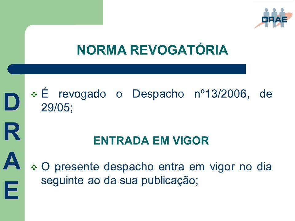 DRAE NORMA REVOGATÓRIA É revogado o Despacho nº13/2006, de 29/05;