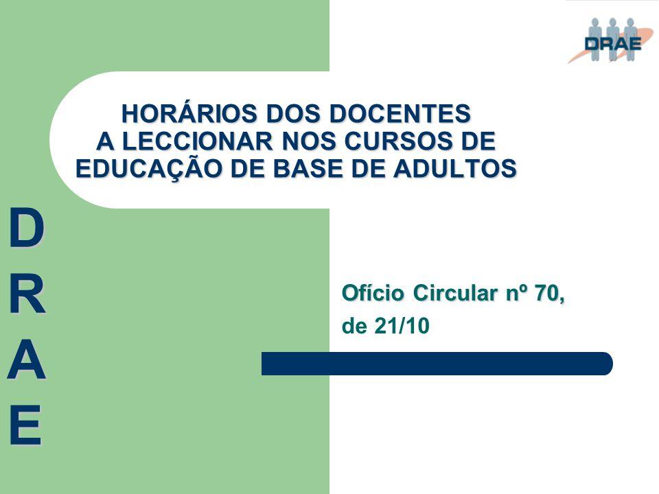 HORÁRIOS DOS DOCENTES A LECCIONAR NOS CURSOS DE EDUCAÇÃO DE BASE DE ADULTOS