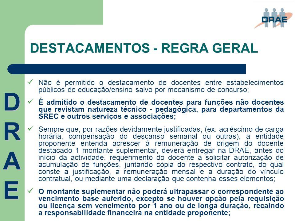 DESTACAMENTOS - REGRA GERAL