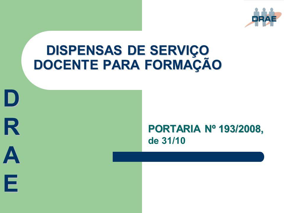 DISPENSAS DE SERVIÇO DOCENTE PARA FORMAÇÃO