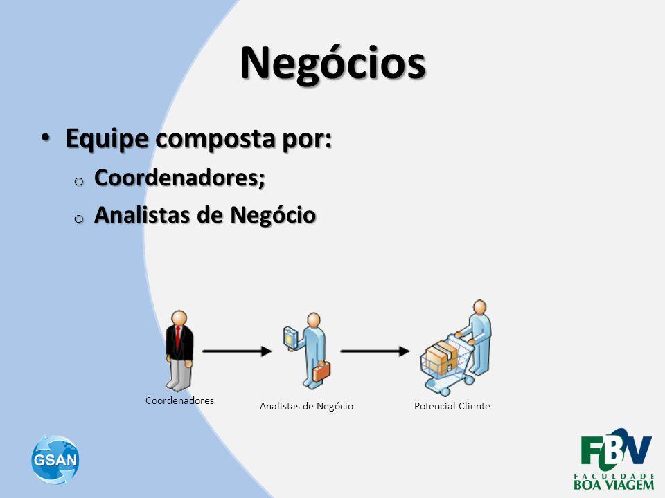 Negócios Equipe composta por: Coordenadores; Analistas de Negócio