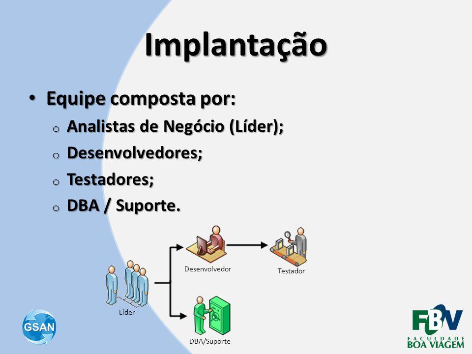 Implantação Equipe composta por: Analistas de Negócio (Líder);