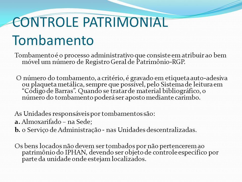 CONTROLE PATRIMONIAL Tombamento