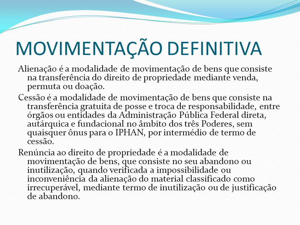 MOVIMENTAÇÃO DEFINITIVA