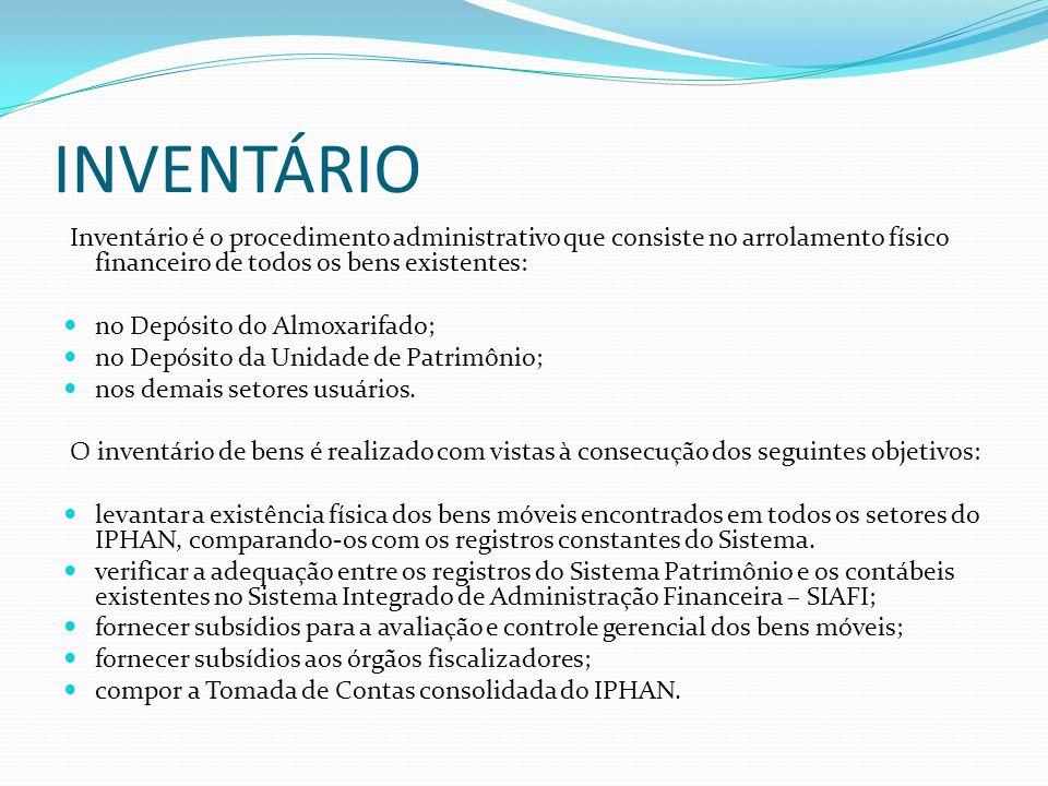INVENTÁRIO Inventário é o procedimento administrativo que consiste no arrolamento físico financeiro de todos os bens existentes: