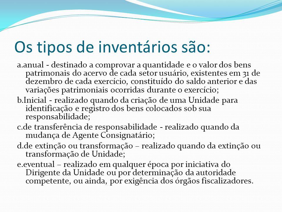 Os tipos de inventários são: