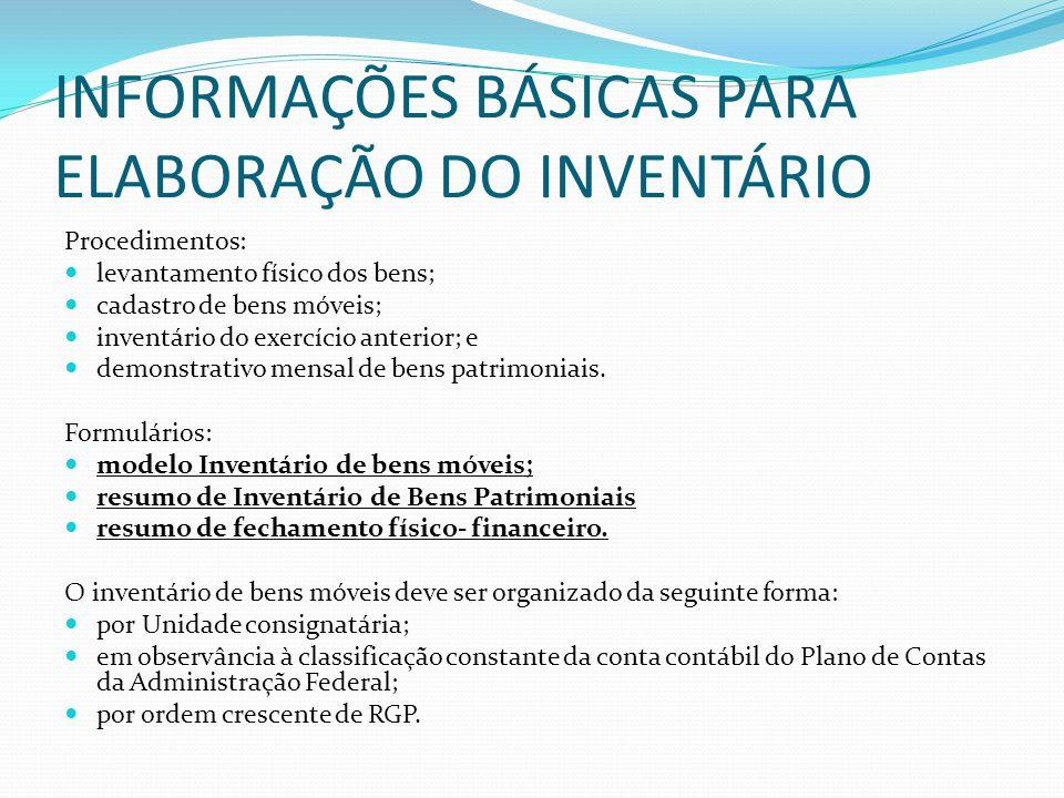 INFORMAÇÕES BÁSICAS PARA ELABORAÇÃO DO INVENTÁRIO
