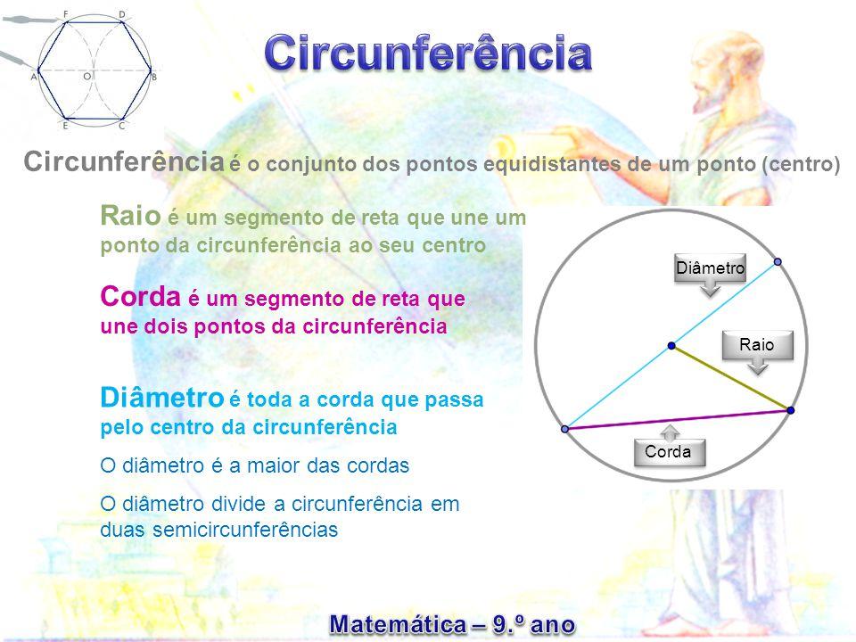Corda é um segmento de reta que une dois pontos da circunferência