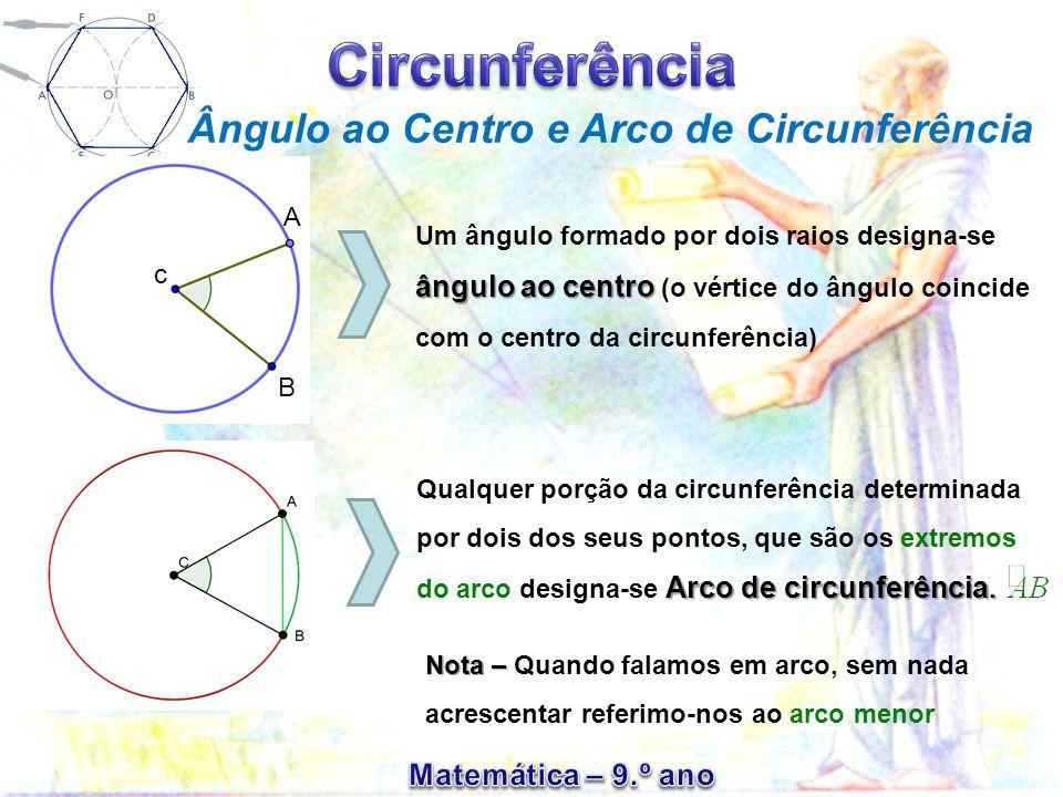 Ângulo ao Centro e Arco de Circunferência