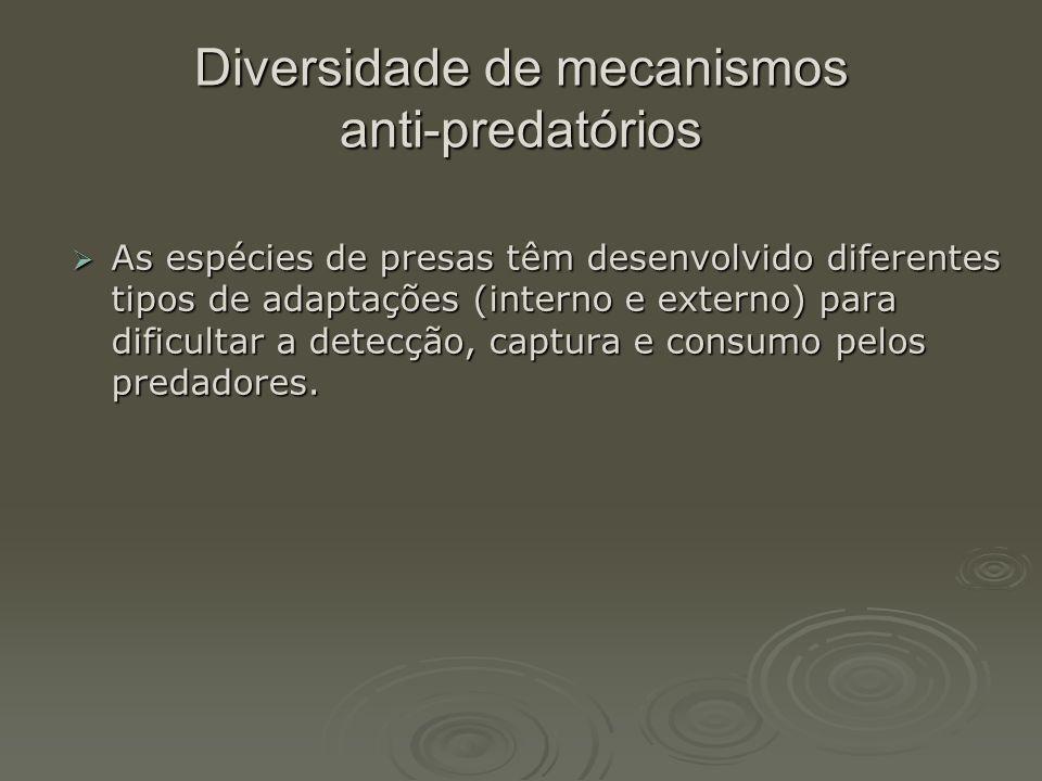 Diversidade de mecanismos anti-predatórios