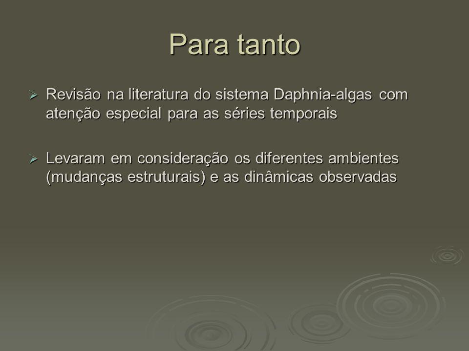 Para tanto Revisão na literatura do sistema Daphnia-algas com atenção especial para as séries temporais.