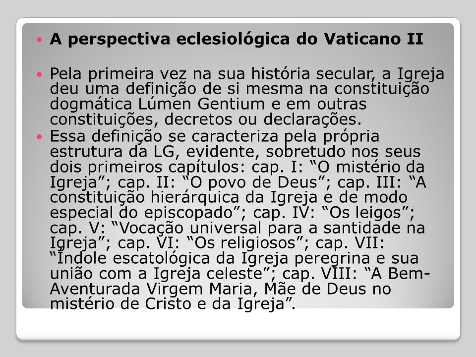 A perspectiva eclesiológica do Vaticano II