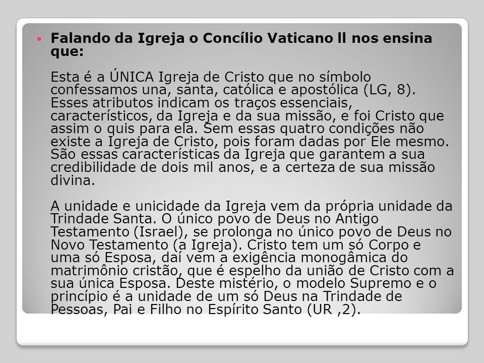 Falando da Igreja o Concílio Vaticano ll nos ensina que: Esta é a ÚNICA Igreja de Cristo que no símbolo confessamos una, santa, católica e apostólica (LG, 8).