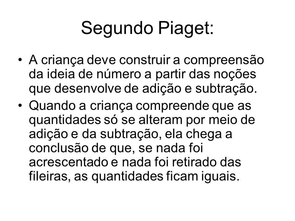 Segundo Piaget: A criança deve construir a compreensão da ideia de número a partir das noções que desenvolve de adição e subtração.