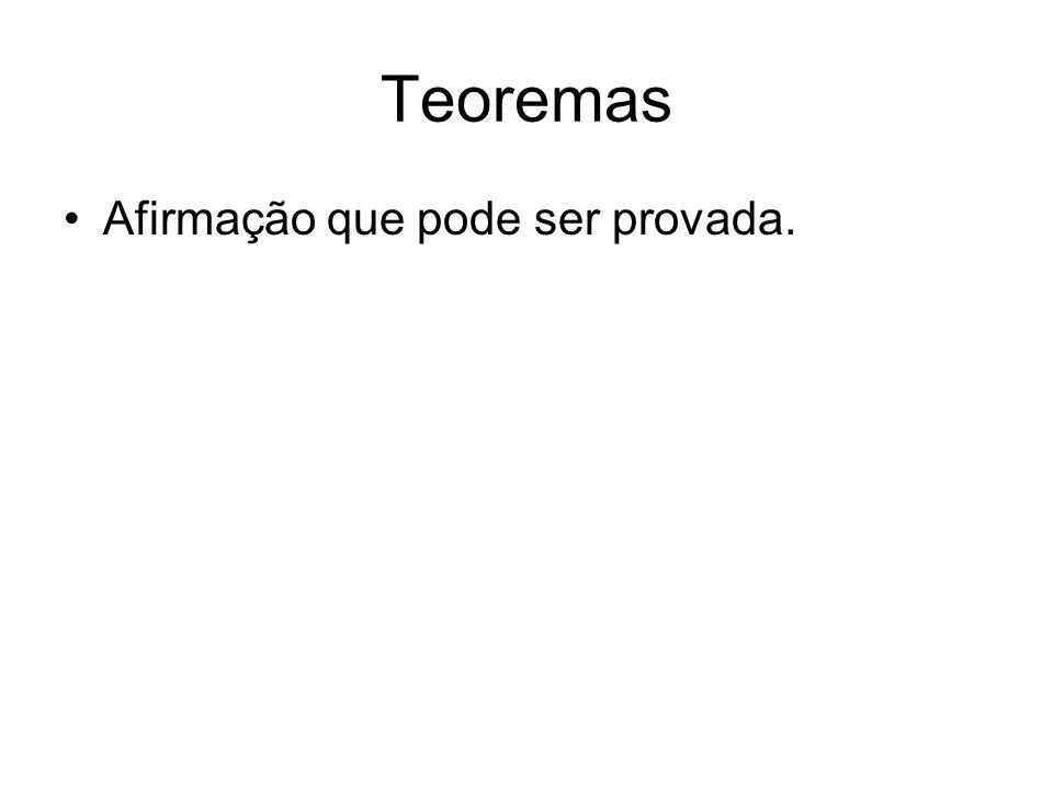 Teoremas Afirmação que pode ser provada.