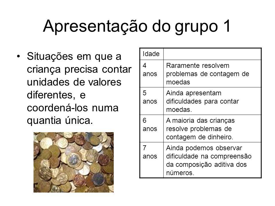 Apresentação do grupo 1 Situações em que a criança precisa contar unidades de valores diferentes, e coordená-los numa quantia única.