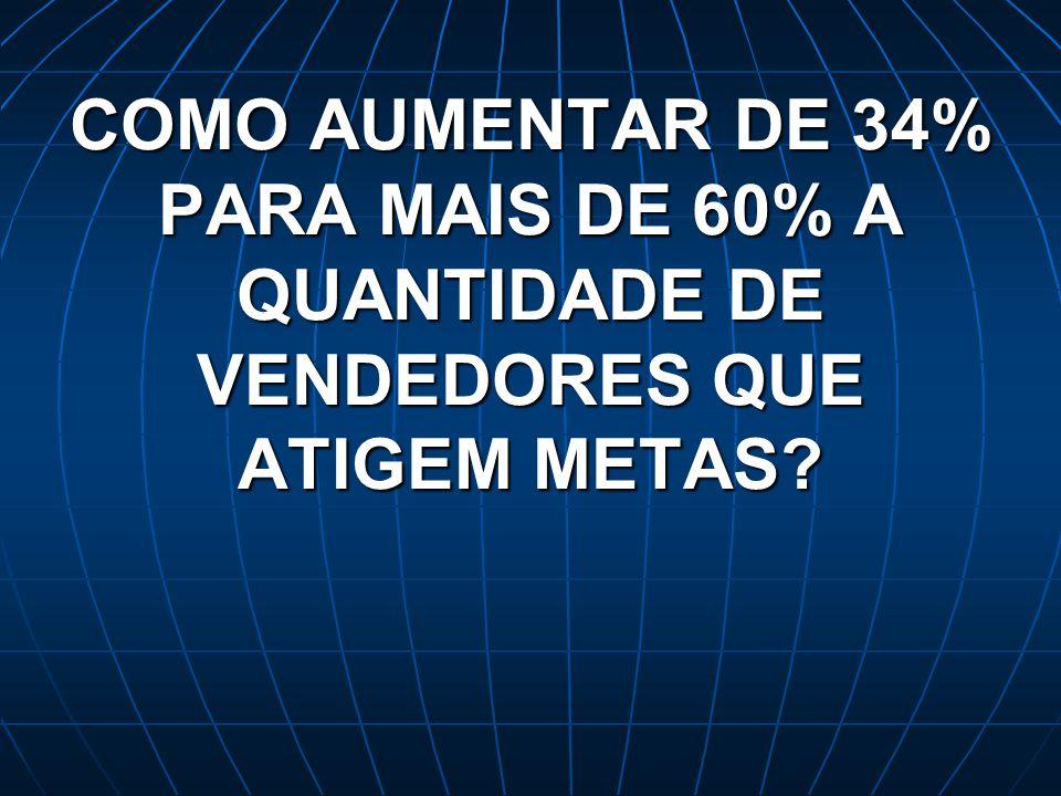 COMO AUMENTAR DE 34% PARA MAIS DE 60% A QUANTIDADE DE VENDEDORES QUE ATIGEM METAS