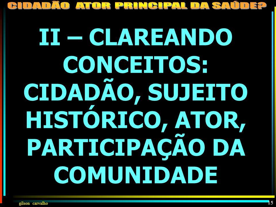 II – CLAREANDO CONCEITOS: CIDADÃO, SUJEITO HISTÓRICO, ATOR, PARTICIPAÇÃO DA COMUNIDADE