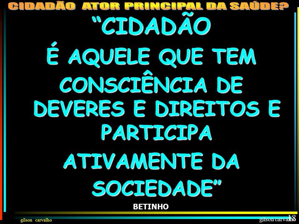 CONSCIÊNCIA DE DEVERES E DIREITOS E PARTICIPA ATIVAMENTE DA SOCIEDADE