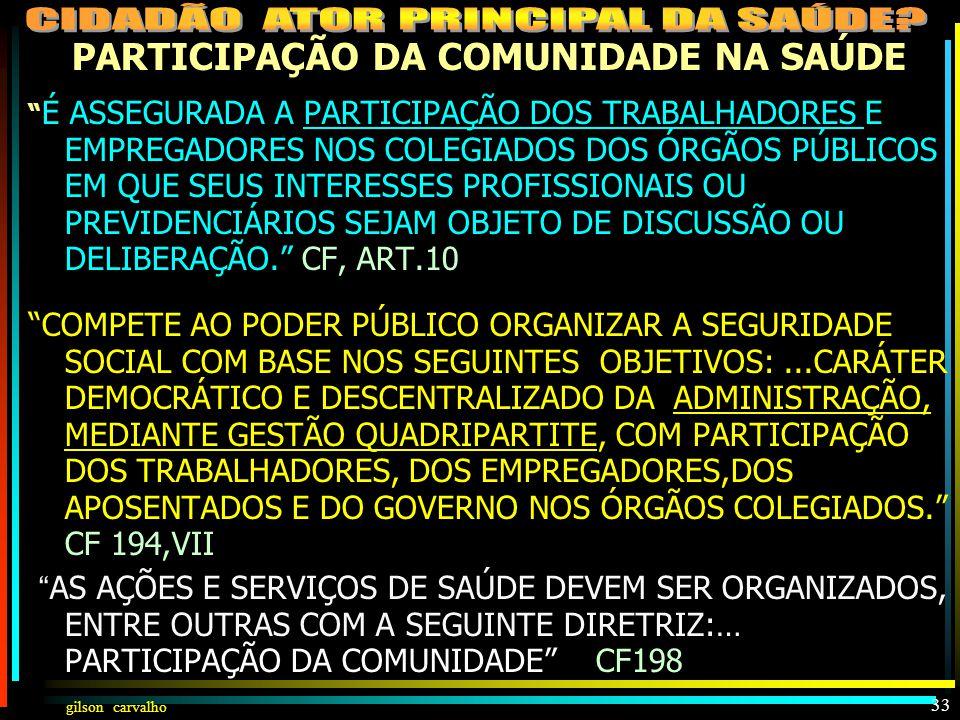 PARTICIPAÇÃO DA COMUNIDADE NA SAÚDE