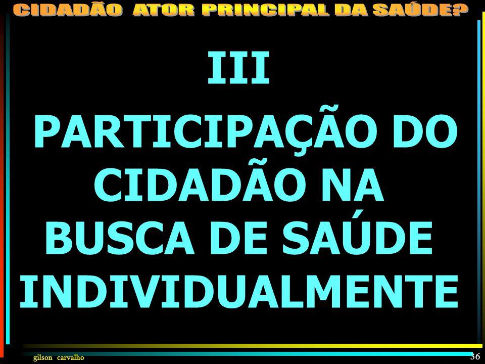 PARTICIPAÇÃO DO CIDADÃO NA BUSCA DE SAÚDE INDIVIDUALMENTE
