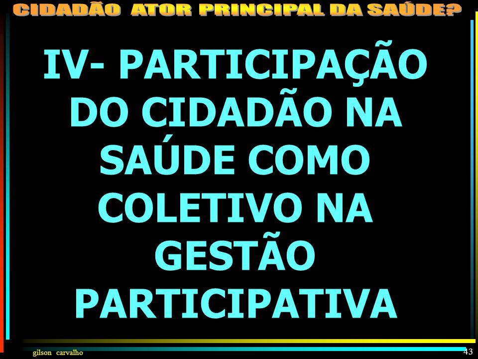 IV- PARTICIPAÇÃO DO CIDADÃO NA SAÚDE COMO COLETIVO NA GESTÃO PARTICIPATIVA