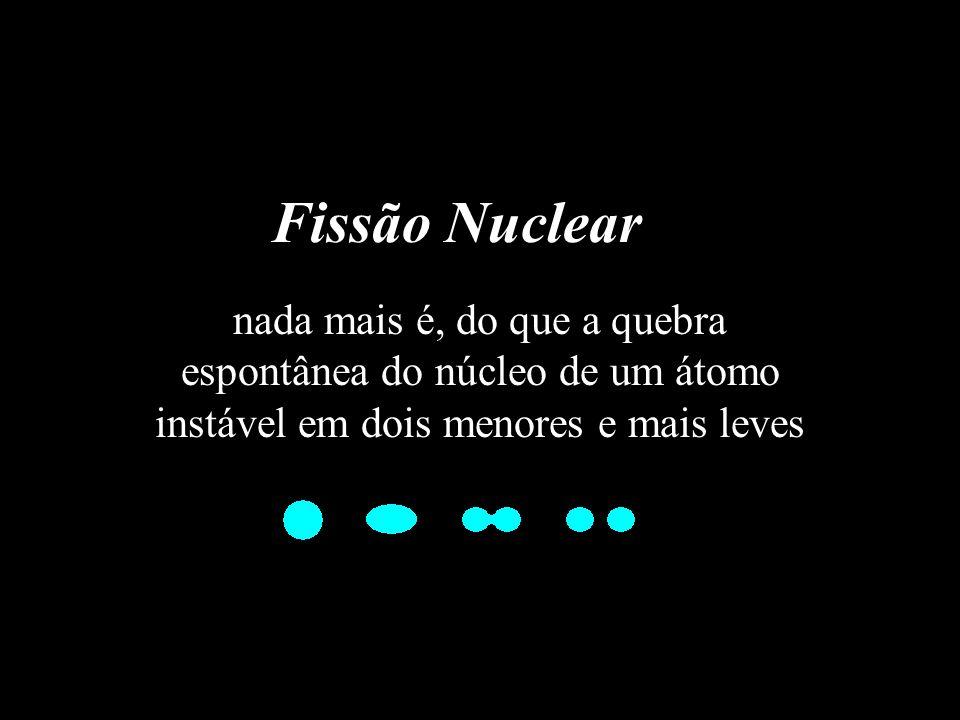 Fissão Nuclear nada mais é, do que a quebra espontânea do núcleo de um átomo instável em dois menores e mais leves.
