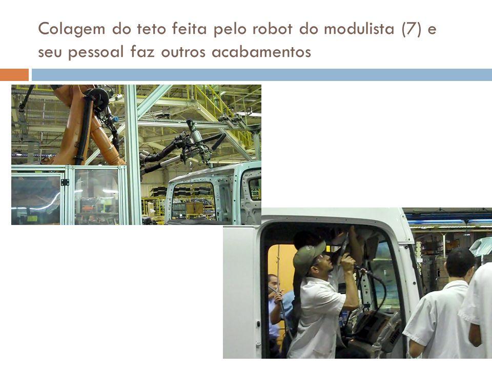 Colagem do teto feita pelo robot do modulista (7) e seu pessoal faz outros acabamentos