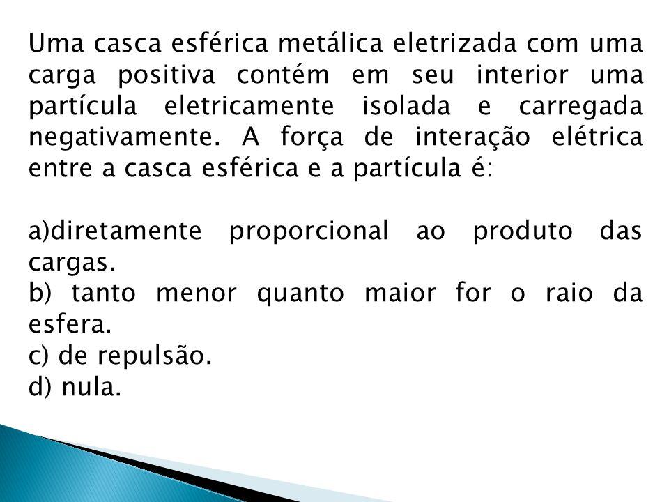 Uma casca esférica metálica eletrizada com uma carga positiva contém em seu interior uma partícula eletricamente isolada e carregada negativamente. A força de interação elétrica entre a casca esférica e a partícula é: