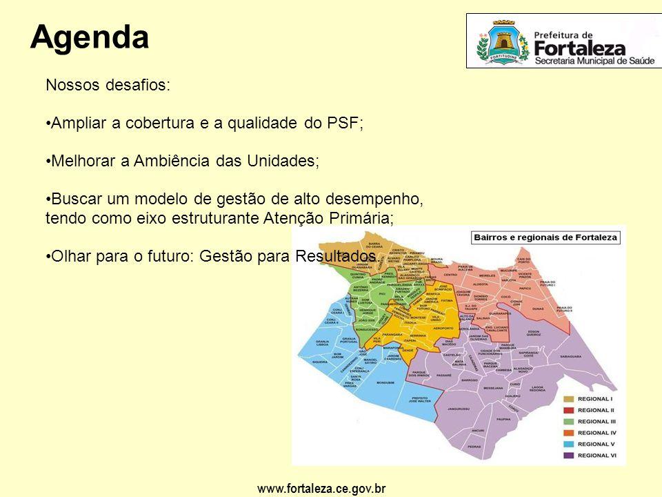 Agenda Nossos desafios: Ampliar a cobertura e a qualidade do PSF;