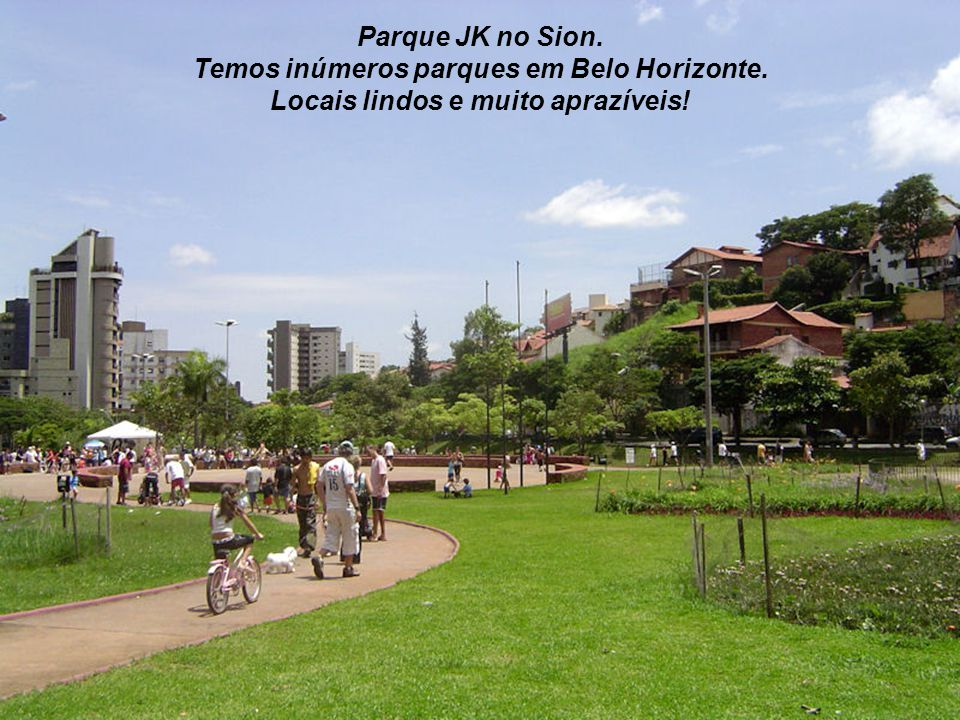 Temos inúmeros parques em Belo Horizonte.
