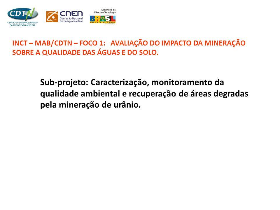 INCT – MAB/CDTN – FOCO 1: AVALIAÇÃO DO IMPACTO DA MINERAÇÃO SOBRE A QUALIDADE DAS ÁGUAS E DO SOLO.