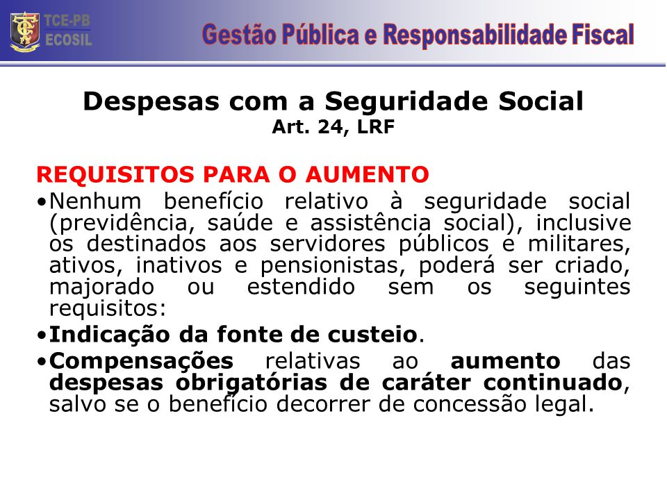 Despesas com a Seguridade Social