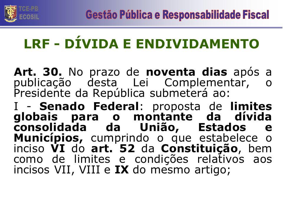 LRF - DÍVIDA E ENDIVIDAMENTO