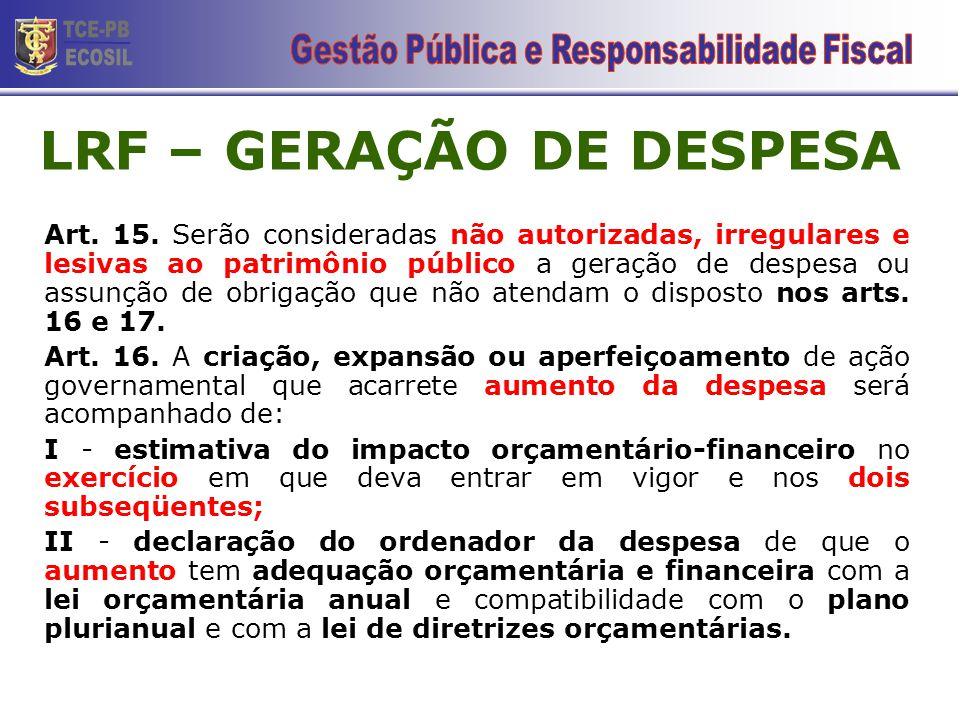 LRF – GERAÇÃO DE DESPESA